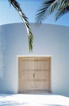Beach house entrance, palm trees