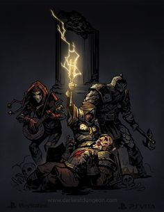 Darkest Dungeon : Need Heals The vestal heel the man-at-arm The jester and the bounty hunter protect th e group Gothic Fantasy Art, Fantasy Kunst, Medieval Fantasy, Gothic Horror, Horror Art, Darkest Dungeon, Fantasy Illustration, Fantasy Inspiration, Cultura Pop