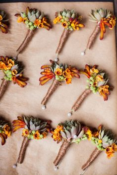 fun fall hued bouts. Love the twine around the stems. Beautiful autumnal colours