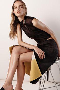 sleek skirt with a splashy underside - Model: Maartje Verhoef | Photographer: Josh Olins - for Narciso Rodriguez pre-fall 2015