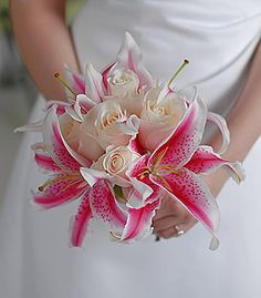 bridesmaid bouquest.  stargazer but with pink roses