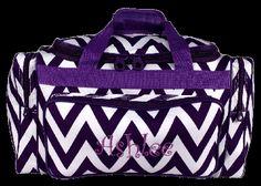 Personalized purple chevron kids duffle bag