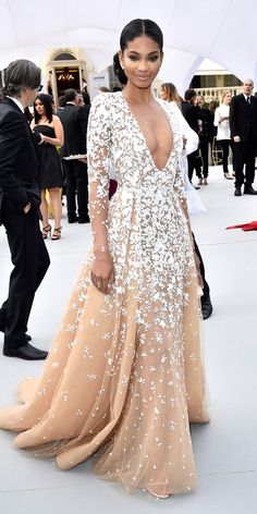 Chanel Iman in Zuhair Murad Couture with Ileana Makri jewels and an Edie Parker clutch.