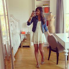 White Dress, white lace summer dress, jean jacket, flower flats