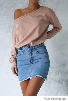 Nude top and denim skirt