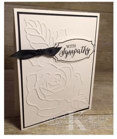 """White on White Sympathy is made with Stampin' Up's """"Rose Wonder"""" stamp set and matching Rose Garden Thinlits Dies."""
