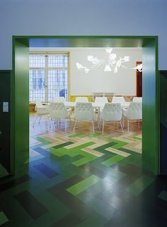 Modern design conference room with a to-die-for ombré, zig zag foor
