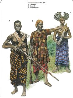 illustration of three african warriors of the Ashanti Kingdom