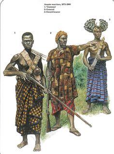 illustration of three african warriors of the Ashanti Kingdom