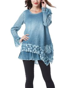 Look at this Simply Couture Blue Dot Scoop Neck Tunic on #zulily today!