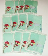 Vintage Cocktail Napkins 12 Embroidered Roosters & Cocktail Glass
