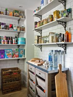 Matrix Bespoke - Walk In Pantry - Marble Shelves - Cast Iron Brackets - White Metro Crackle Tiles