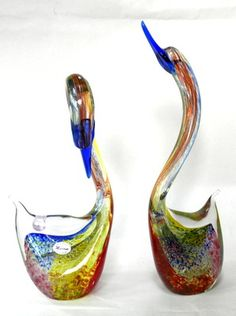 Eames Era Murano Art Glass Swan Pair Retro Silver Flecks Signed