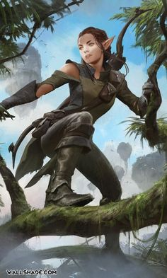 ~Ria~archer~huntress~elf~caring~does'int care about herself~would die for others~a lot of guys have a crush on her~