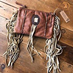 The Gus Clutch - Vintage looking leather fringe clutch/purse. Super soft cognac leather. Retro concho with buckskin fringe. Gorgeous long fringe sides. Zipper closure.