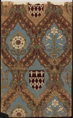 Wallpaper      Place of origin:      England, Great Britain (made)     Date:      Mid-19th century (made)     Artist/Maker:      Pugin, born 1812 - died 1852 (after, designer)     John G Crace & Son (supplier)     Materials and Techniques:      Colour woodblock print and flock, on paper