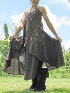Butterfly dress from Thailand, layered cotton with hand embroidery