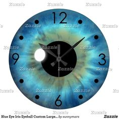 Blue Eye Iris Eyeball Custom Large Round Clock