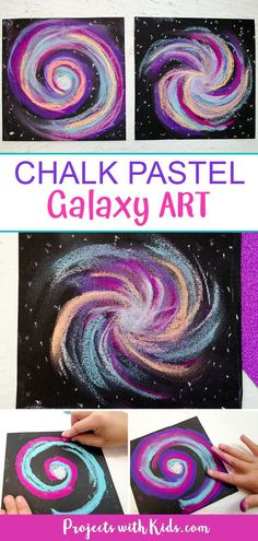 This chalk pastel galaxy art project is out of this world! Kids will love using easy chalk pastel techniques to create this stunning galaxy craft. Chalk Pastel Art, Chalk Pastels, Chalk Art, Pastel Galaxy, Galaxy Art, Painting For Kids, Art For Kids, Galaxy Crafts, Dibujo