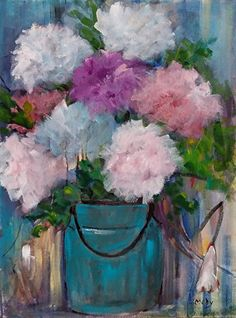 Peonies in BLue Can by Medy Bozkurtian Acrylic ~ 26 x 20 framed