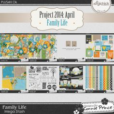 Project 2014 April: Family Life - Mega Stash by Connie Prince. Each month during 2014 a new Mega Stash will be released! These are perfect for scrapping monthly recap layouts. Project 365. Project 52. Life Events. or any layout that you can dream up!