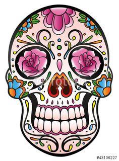 Vektor: Mexican Sugar Skull, Totenkopf, bunt, vector