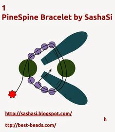 art, crafts and beads: Free Tutorial - PineSpine Bracelet with 2-Hole Daggers and Pellet Beads