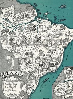 Brazil Map of a Vintage Picture - South America - Rio de Janeiro Sao Paul Vintage Maps, Antique Maps, Brazil Map, Brazil Travel, Draw Map, Art And Illustration, Map Illustrations, South America Map, Pictorial Maps