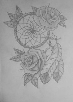 Dream Catcher with Rose Drawing | Dream Catcher With Roses by LisaKat98 on…