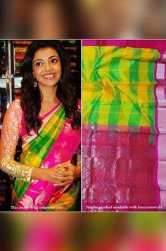 Multicolor Handloom Kuppada... Kanjivaram Sarees Silk, Pure Georgette Sarees, Bandhani Saree, Silk Cotton Sarees, Pure Silk Sarees, Silk Sarees Online, Celebrity Look, Look Alike, Occasion Wear