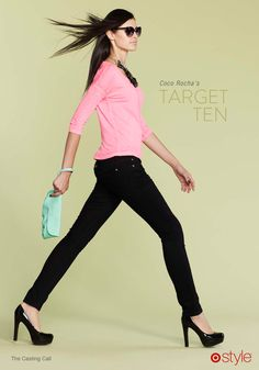 Coco Rocha's Target 10: The Casting Call - own it: statement necklace. neon pink top. black skinnies. black patent pumps. clutch.