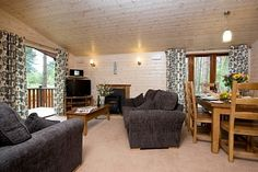 3 bedroom lodge lounge with double glazing and central heating.