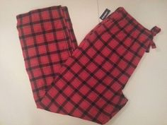 NWT MENS OLD NAVY RED & BLACK WINTER PLAID FLANNEL LOUNGE CASUAL PAJAMA PANTS L #OldNavy #LoungePants