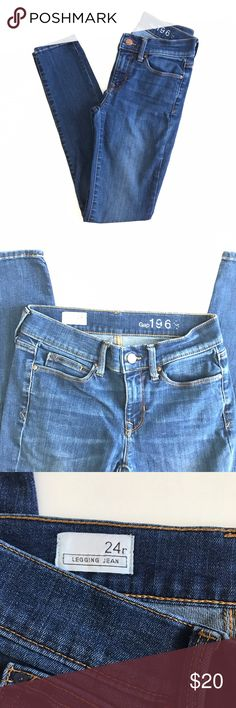 """Gap legging skinny jeans. Gap legging jeans size 24 regular. Good amount of stretch to them. Waist measures 13"""" flat across & inseam is 28"""". Excellent used condition. Sorry, no trades & I am unable to model. GAP Jeans Skinny"""