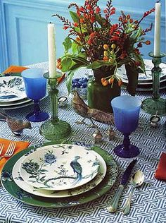 navy blue and orange table setting- vintage {A Chic Tablecloth Made from Quadrille's Java Fabric}
