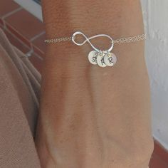 Mothers Bracelet Gift with Initials, Up to FOUR initials of your choice, Sterling Silver Infinity Bracelet, Family Initials,Infinity Jewelry Mothers Bracelet, Initial Bracelet, Bracelet Set, Stone Bracelet, Mother Gifts, Gifts For Mom, Infinity Jewelry, Cute Jewelry, Cool Gifts