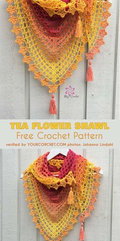Tea Flower Shawl Free Crochet Pattern This shawl is a hit. The Tea Flower Shawl is delicate, soft and drapes lovely. It will be an eye-catching addition to your summer outfit. The little flowers around the edge, which give it an even more summery look, are optional and there is an alternative picot border included. You can make this wrap in any size you want.