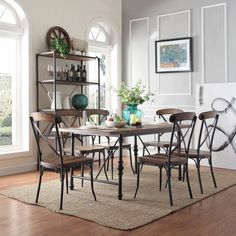 Nelson Industrial Modern Cross Back 7-piece Dining Set | Overstock.com Shopping - Big Discounts on Dining Sets