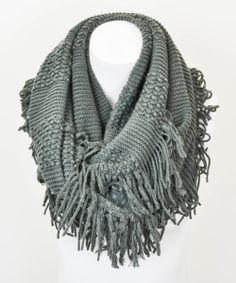 Charcoal Fringe Infinity Scarf