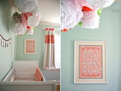 Baby Girl Room - Pom Poms - Pink White Green baby