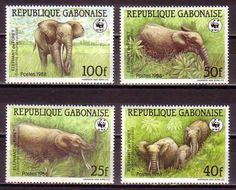 African-Forest-Elephant-WWF-Gabon-MNH-4-stamps-1988