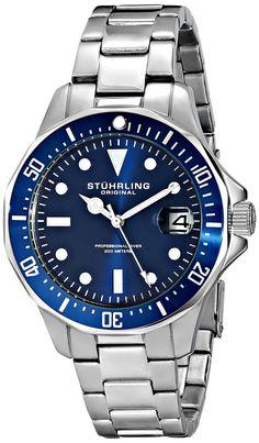 Stuhrling Original Men's 664.02 Aquadiver Stainless Steel Date Watch with Link Bracelet