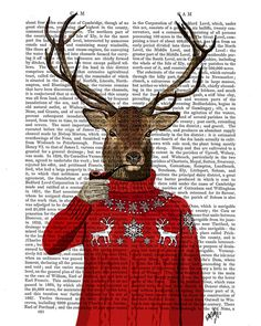 Deer in Ski Sweater Wall Art Art Giclee Print Acrylic by FabFunky, $15.00