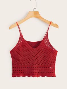 Boho Cami Plain Regular Fit Spaghetti Strap and V neck Burgundy Crop Length Eyelet Insert Crop Knit Cami Top Débardeurs Au Crochet, Crochet Crop Top, Crochet Bikini, Fashion News, Fashion Outfits, Cami Tops, Crochet Clothes, Marie, Crochet Patterns