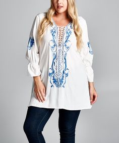 Another great find on #zulily! White & Blue Embroidered Peasant Tunic - Plus #zulilyfinds