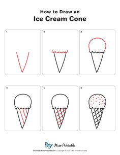 How to Draw an Ice Cream Cone, cone Cream draw Ice Drawing Lessons For Kids, Easy Drawings For Kids, Drawing Ideas, Drawing Tips, Ice Drawing, Drawing Hair, Drawing Faces, Draw Ice Cream, Ice Cream Art