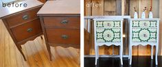 Before and after side tables...Design Sponge has the best ideas.