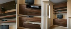 Walnut alcove cabinet with shelving