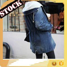 L9835 Wholesale Fashion Clothing 2017 Women Denim Jacket Fall and Winter Wash Hood Fleece Thick Jean Coats Plus Size