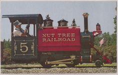 Vacaville, CA Postcard NUT TREE RAILROAD Miniature Locomotive w/ Engineer c1950s